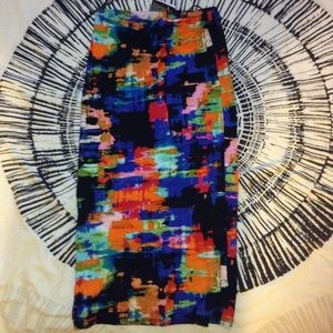 topshop multicolor stretch midi skirt size 4 BNWT